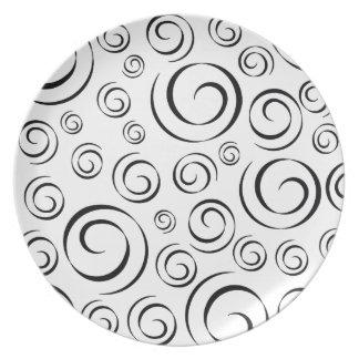 Tuxedo Black and White Swirl Pattern PT81 Plate