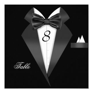 "Tuxedo Black Table Number Seating Place Card 5.25"" Square Invitation Card"