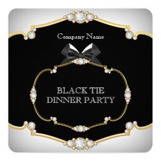 Tuxedo Black Tie Dinner Party White Gold 2 Card