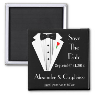 Tuxedo-Black Tie Save The Date 2 Inch Square Magnet