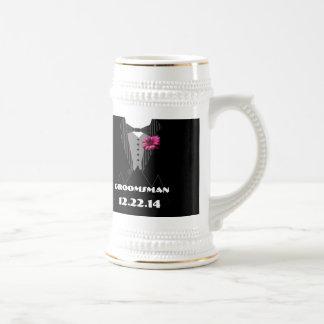 Tuxedo Bow Tie Gerber Daisy Groomsman Stein - Coffee Mugs