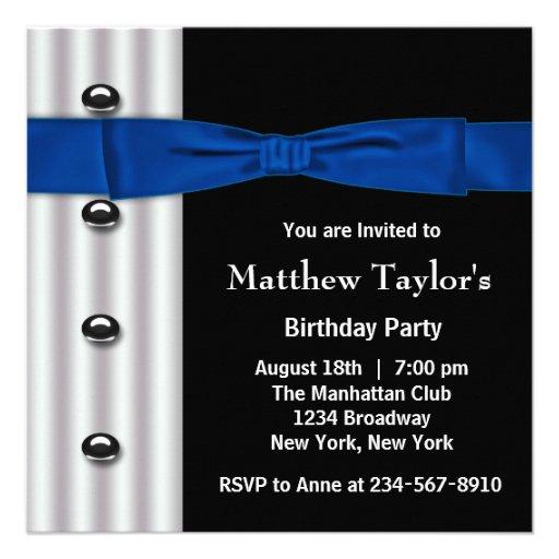 Tuxedo Bow Tie Mens Blue Black Birthday Party Invite