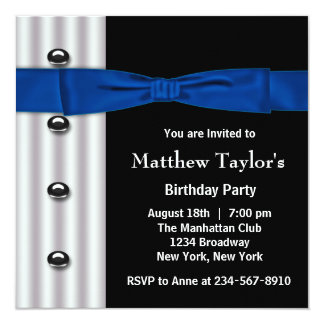 "Tuxedo Bow Tie Mens Blue Black Birthday Party 5.25"" Square Invitation Card"