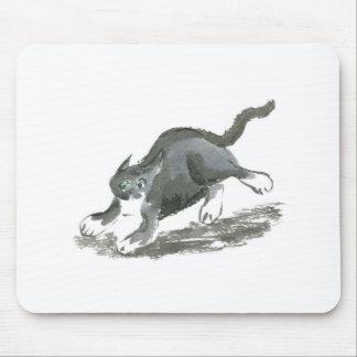 Tuxedo Cart Runs so Fast, Sumi-e Mouse Pad