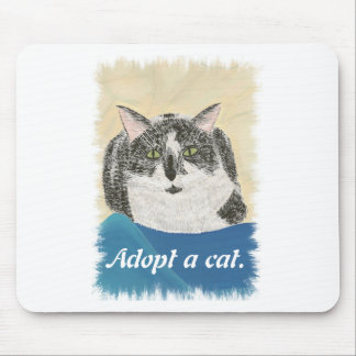 Tuxedo Cat Adopt a cat promotion mouse pads