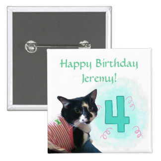 Tuxedo Cat Age Four Happy Birthday Buttons