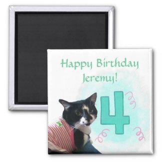 Tuxedo Cat Age Four Happy Birthday Magnets