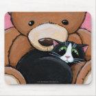 Tuxedo Cat and Big Teddy Bear | Cat Art Mousepad