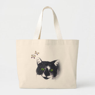 Tuxedo Cat and Butterflies Tote Bags