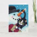 Tuxedo Cat and Gentleman Snowman Christmas Card