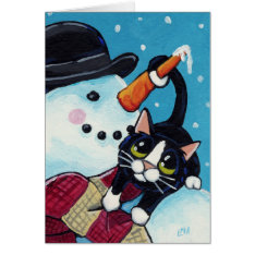 Tuxedo Cat And Gentleman Snowman Christmas Card at Zazzle