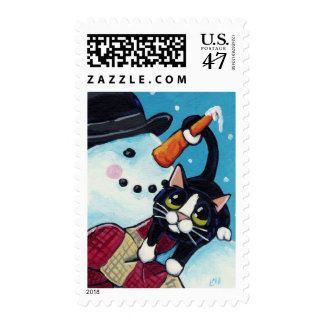 Tuxedo Cat and Gentleman Snowman Festive Postage