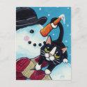Tuxedo Cat and Gentleman Snowman Postcard