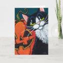 Tuxedo Cat and Smiling Pumpkin Lantern Card