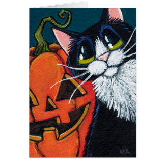 Tuxedo Cat and Smiling Pumpkin Lantern Card