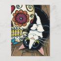 Tuxedo Cat and Sugar Skull Illustration Postcard