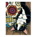 Tuxedo Cat and Sugar Skull Illustration Postcard