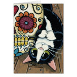 Tuxedo Cat and Sugar Skull Painting Card