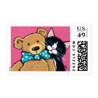 Tuxedo Cat and Teddy Bear Stamps