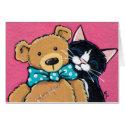 Tuxedo Cat and Teddy Bear Thank You