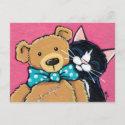 Tuxedo Cat and Teddy Bear with Bow Tie Postcard
