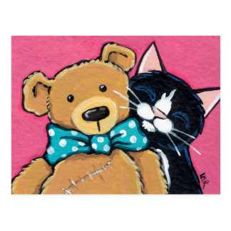 Tuxedo Cat and Teddy Bear with Bow Tie Postcard