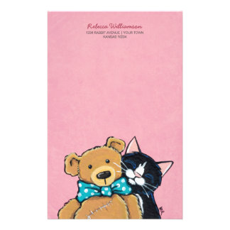 Tuxedo Cat and Teddy Bear with Bow Tie Stationery