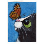 Tuxedo Cat and Viceroy Butterfly Greeting Card