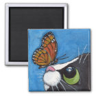 Tuxedo Cat and Viceroy Butterfly Magnet