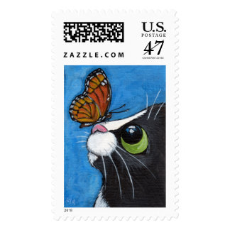 Tuxedo Cat and Viceroy Butterfly Postage
