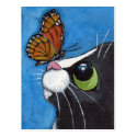 Tuxedo Cat and Viceroy Butterfly Postcard