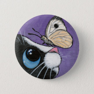 Tuxedo Cat and White Butterfly Painting Button