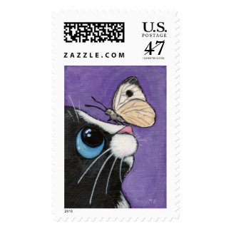 Tuxedo Cat and White Butterfly Painting Postage