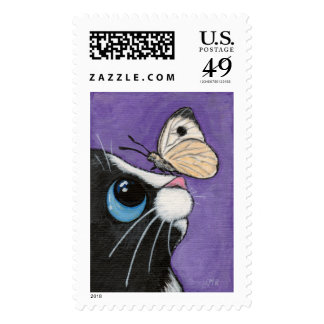 Tuxedo Cat and White Butterfly Painting Stamps