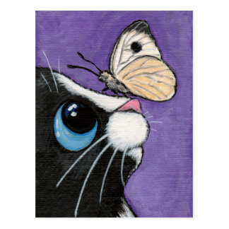 Tuxedo Cat and White Butterfly Painting Postcards