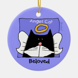 Tuxedo Cat Angel Personalize Ceramic Ornament