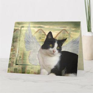 Tuxedo Cat Angel Pet Sympathy Card Large Size