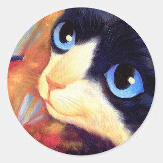 Tuxedo Cat Art - Multi Classic Round Sticker