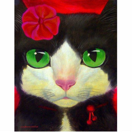 Tuxedo Cat Art Painting Whimsical Feline Standing Photo