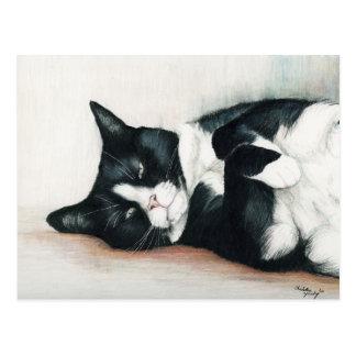 """""""Tuxedo Cat"""" Art Postcard"""