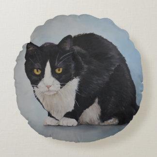 Tuxedo Cat Art Round Pillow