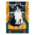 Tuxedo Cat at Snowy Window Painting