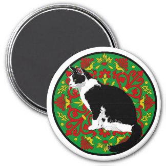 Tuxedo Cat Baroque 3 Inch Round Magnet