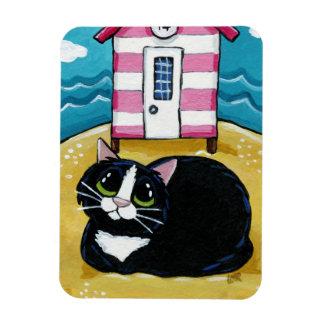 Tuxedo Cat & Beach Hut Art Premium Magnet