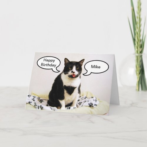 Tuxedo Cat Birthday Mike Humor Card