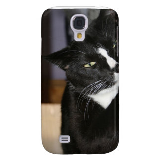 tuxedo cat black and white lying down one eye open samsung galaxy s4 cases