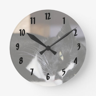 tuxedo cat black and white lying down one eye open round clock