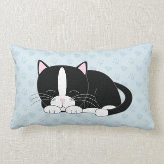 Tuxedo Cat {blue} Lumbar Pillow