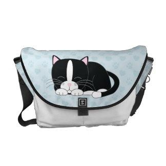 Tuxedo Cat {blue} Messenger Bag