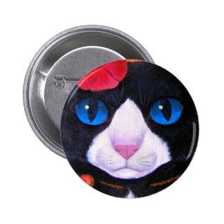 Tuxedo Cat Butterfly Painting - Multi Pin